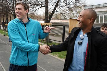 Colin Jackson surprises Sergey Shubenkov at his training base in Barnaul (Luke Tchalenko)