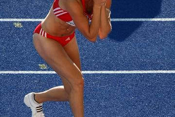 Linda Züblin of Switzerland celebrates a national javelin record during the women's Heptathlon (Getty Images)