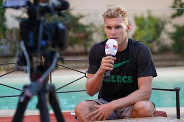 Kevin Mayer at a press conference ahead of the Decastar in Talence (Thomas Mayer)