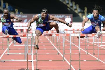 Omar McLeod at the IAAF Diamond League meeting in Birmingham (Mark Shearman)