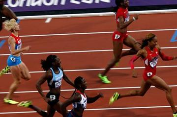 Sanya Richards-Ross of the United States crosses the line to win gold in the Women's 400m Final on Day 9 of the London 2012 Olympic Games on 5 August 2012  (Getty Images)