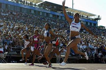 LaTasha Colander signals her victory - US Trials (Getty Images)
