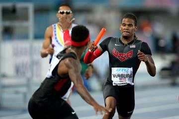 USA's David Verburg in the 4x400m at the IAAF World Relays (Getty Images)