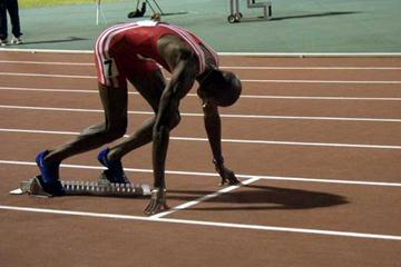 Alleyne Francique at the start of the 2003 CAC men's 400m final (Michael Bascombe)