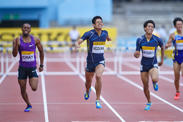 Keisuke Nozawa wins the 400m hurdles at the IAAF World Challenge meeting in Kawasaki (Getty Images)