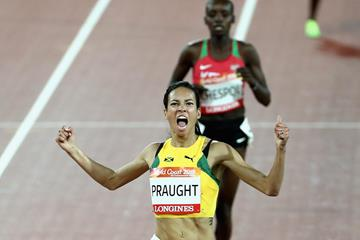 Aisha Praught takes an upset victory in the Commonwealth 3000m steeplechase (Getty Images)