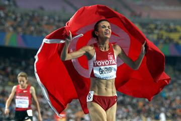 Habiba Ghribi after taking the steeplechase silver medal at the 2011 IAAF World Championships in Daegu (Getty Images)