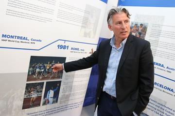 Seb Coe reminisces about his IAAF World Cup victory in 1981 - IAAF Heritage Exhibition in Ostrava (Ales Graf / IAAF)