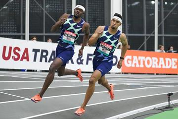 Rai Benjamin and Michael Norman in the 400m at the New Balance Indoor Grand Prix (Victah Sailer)