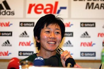 Mizuki Noguchi (JPN) at real,- Berlin Marathon press conference (Victah Sailer)