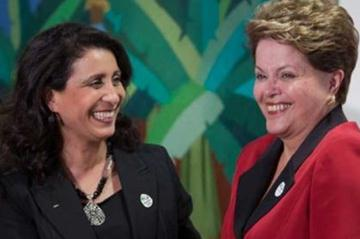 (l to r) Nawal El Moutawakel and Dilma Rousseff (c)