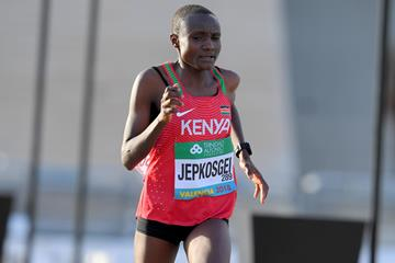 Joyciline Jepkosgei, silver medallist at the World Half Marathon Championships Valencia 2018 (Jiro Mochizuki)