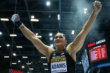 Shot put winner Valerie Adams at the 2014 IAAF World Indoor Championships in Sopot (Getty Images)