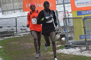 Kenyan pair Albert Rop and Alex Kibet at the 2013 ING Eurocross meeting in Diekirch, Luxembourg (Rosch Kohl)