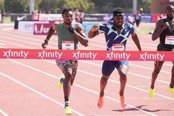Noah Lyles wins the 200m at the USATF Golden Games (Kirby Lee)