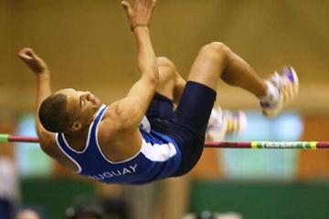 Andres Silva of Uruguay in the octathlon's high jump (Getty Images)