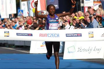 Peres Jepchirchir wins at the 2015 Mattoni Usti nad Labem Half Marathon (Organisers)