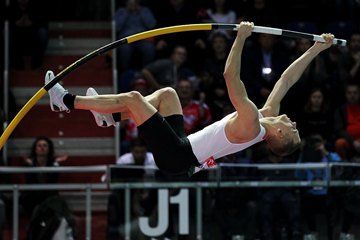 Sam Kendricks, winner of the pole vault at the IAAF World Indoor Tour meeting in Torun (Jean-Pierre Durand)