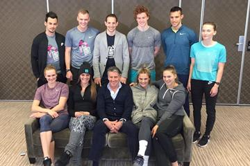 Post-forum group shot: athletes with IAAF President Sebastian Coe in Clermont-Ferrand (organisers)