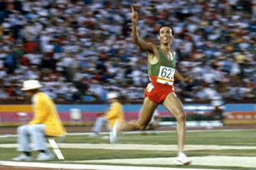 Said Aouita on the way to 5000m Olympic gold in Los Angeles in 1984 (Getty Images)