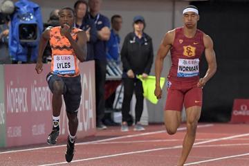 Noah Lyles and Michael Norman in the Lausanne 200m (Gladys Chai von der Laage)