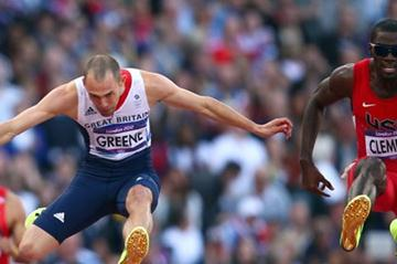 (L-R) Dai Greene of Great Britain and Kerron Clement of the United States compete in the Men's 400m Hurdles Semi Finalon Day 8 of the London 2012 Olympic Games on 4 August 2012 (Getty Images )