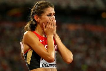 Gesa Felicitas Krause after taking bronze in the 3000m steeplechase at the IAAF World Championships, Beijing 2015 (Getty Images)