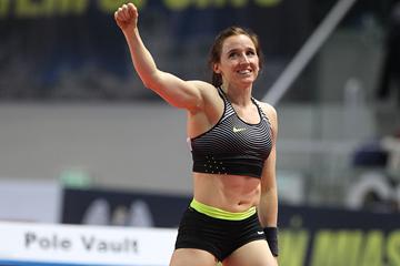 Pole vault winner Nicole Buchler at the IAAF World Indoor Tour meeting in Torun (Jean-Pierre Durand)