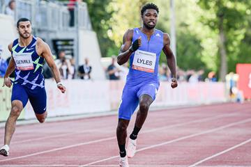 Noah Lyles at the 2020 World Athletics Continental Tour Gold meeting in Szekesfehervar (Organisers)