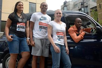 Valerie Adams, Aries Merritt, Sally Pearson & Kim Collins before the 2013 IAAF Diamond League in London  (Kirby Lee)