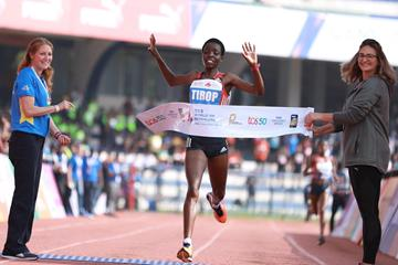 Agnes Tirop takes the victory at the 2018 TCS World 10k in Bengaluru (Organisers)