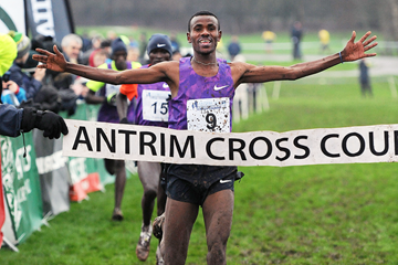Aweke Ayalew wins at the Antrim International Cross Country (Mark Shearman)