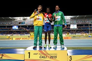 Boys' long jump podium at the IAAF World Youth Championships, Cali 2015 (Getty Images)
