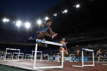 USA's Sharika Nelvis in the mixed shuttle hurdles relay at the IAAF World Relays Yokohama 2019 (Getty Images)