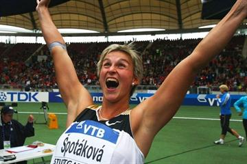 Barbora Spotakova is stunned after setting a surprise world record of 72.28m in the javelin (Getty Images)