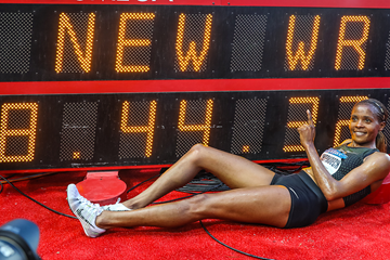 Beatrice Chepkoech with her steeplechase world record figures at the IAAF Diamond League meeting in Monaco (Philippe Fitte)