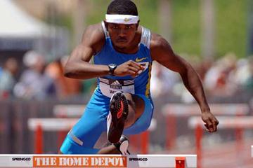 Bershawn Jackson hurdling in Carson at the adidas Track Classic (Kirby Lee - The Sporting Image)