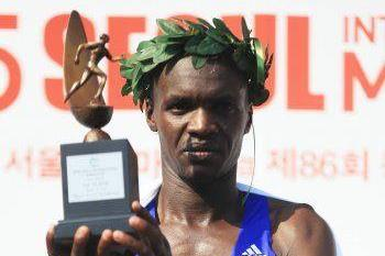 Wilson Loyanse after winning at the 2015 Seoul International Marathon (Organisers)