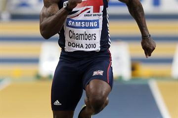 Dwain Chambers of GBR on his way to winning the gold medal (Getty Images)