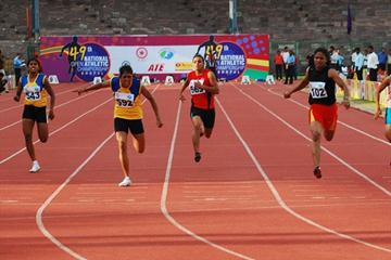 Sarada Narayanan (second from left) winning the Indian national open 100m title (AFI)