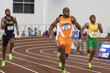 Christian Coleman on his way to winning the NCAA indoor 200m title (Kirby Lee)