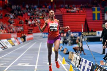 Abeba Aregawi comes close to the World indoor 1500m record in Stockholm (DECA Text&Bild)
