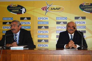 IAAF General Secretary Pierre Weiss of France and FIDAL President Franco Arese of Italy during the Press Conference (Getty Images)