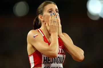 Zuzana Hejnova after winning the 400m hurdles at the IAAF World Championships, Beijing 2015 (Getty Images)