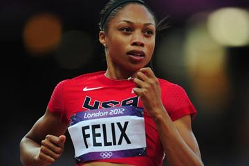 Allyson Felix of the United States competes in the 100m heats at the London 2012 Olympic Games (Getty Images)