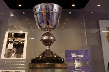 The original men's IAAF World Cup Trophy at the IAAF Heritage Exhibition in Ostrava (Getty Images)