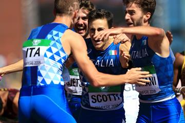 The Italian team after winning the 4x400m at the IAAF World U20 Championships Tampere 2018 (Getty Images)