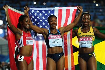 The medallists of the women's 100m - Kelly-Ann Baptiste, Carmelita Jeter and Veronica Campbell-Brown (Getty Images)