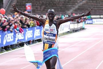 Thomas Lokomwa wins the 2014 Stramilano half marathon (Giancarlo Colombo)