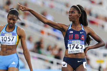 Ashley Spencer of United States celebrates after winning the Women's 400 metres Final on the day four of the 14th IAAF World Junior Championships in Barcelona on 13 July 2012 (Getty Images)